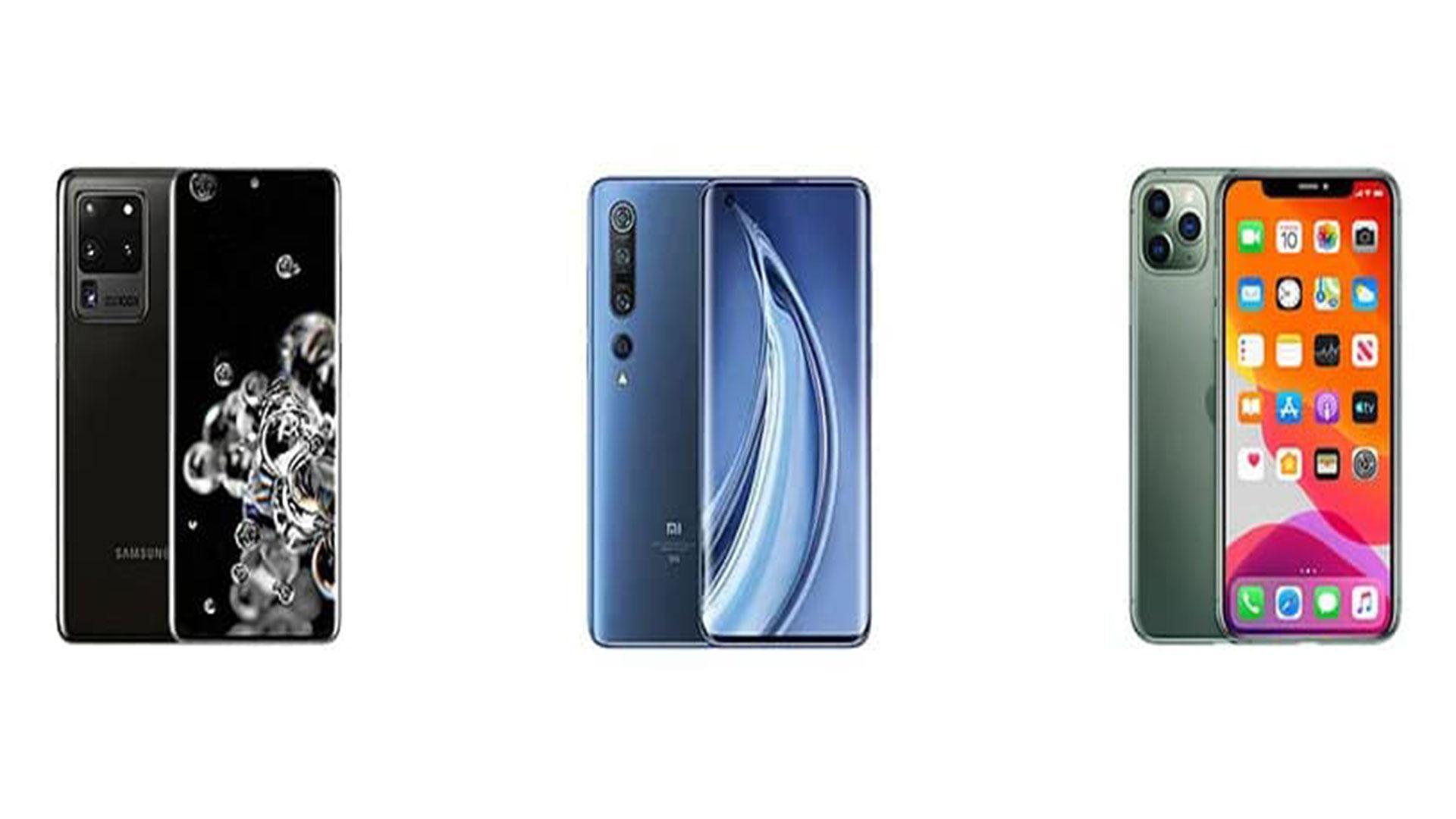 مقایسه گوشی موبایل iphone 11 pro max و samsung s20 ultra و xiaomi mi 10 pro